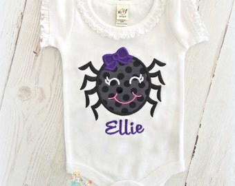 Kids Halloween shirt - Girls Halloween spider shirt or bodysuit - 1st Halloween shirt - embroidered Halloween shirt