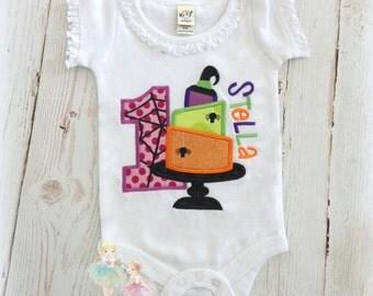 Halloween birthday cake shirt - Halloween cake - 1st birthday Halloween shirt - spooky cake - girls personalized Halloween birthday shirt