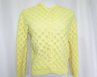 Yellow Cardigan Sweater Vintage 60's M/L