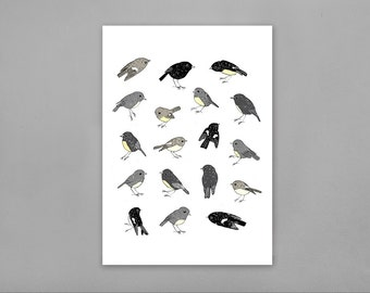 Robins and Tomtits Limited Edition A4 Archival Art Print