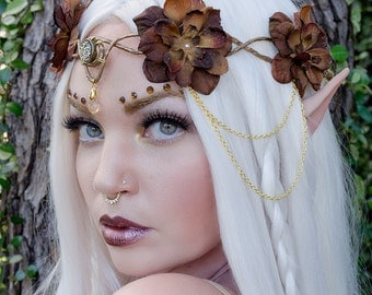 Brown and gold elven crown - headdress accessory