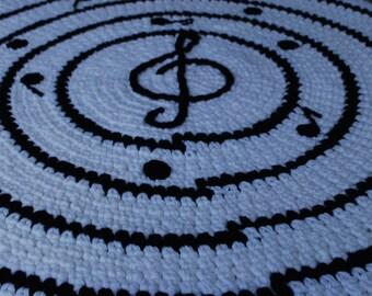 Music handmade circle rug