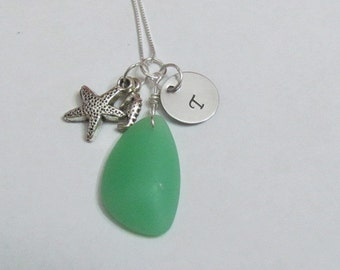 Initial Neckalce - Seaglass Necklace - Starfish and Seahorse charms - Bridesmaid necklaces -Destination wedding gifts- Ready to ship