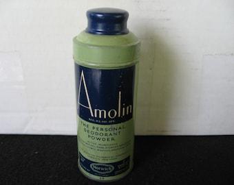 Vintage Amolin Personal Deodorant Powder Tin-Norwich-35 cents