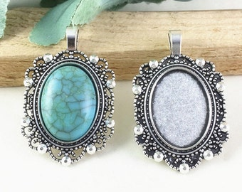 Cabochon Base Settings -6pcs Antique Silver Oval Bezel Tray Charm Pendants 18x25mm AC301-5