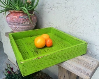 Barn wood tray shabby apple green