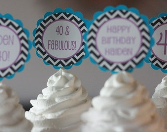 12 - 21 30 40 60 65 & Fabulous Chevron Black Turquoise Purple Birthday Chevron Cupcake Toppers - Ask About our Party Pack Sale