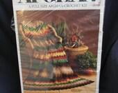 "WonderArt Crochet Afghan Kit - ""Fiesta"" Pattern - New Old Stock!  Bright and Cozy!"