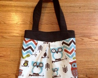 Owl Print Bag | 7 Pocket Pleated Canvas Shoulder Bag | Canvas Purse | Tote With Pockets | Owl Tote | Shoulder Tote | Brown & Blue and Green