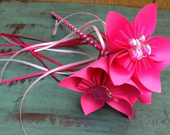 Paper Flower Wand Bouquet in Bright Pink with Butterfly Gem Centers