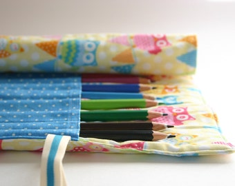 Pencil Roll Candy Owls and Bunting Pencil Roll Includes 12 Quality Staedtler Pencils + One HB Graphite Pencil Crochet Hook Roll Brush Roll