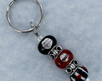 BEADED KEYRING with Black, Red and White Lampwork and Rhinestone Beads