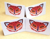 Fox folded gift tags pack of 4 peel-off tags