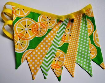 Lemonade fabric pennant banner bunting, lemonade stand, flag garland, party decoration, lemonade birthday party decor, photo prop