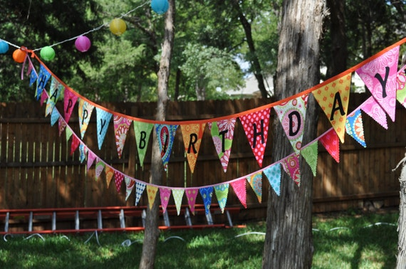 Gypsy Bandana fabric pennant banner bunting birthday party