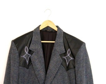 Vintage Mens Western Cowboy Blazer Pioneer Wear Embroidered Leather Wool Blend Gray Size 46 1980s