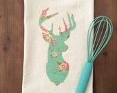 Floral Stag Head Silhouette Flour Sack Tea Towel