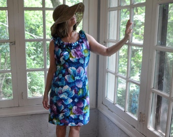 Dappled Blues Hawaiian Mini Dress/Vintage 1960s/Cotton Barkcloth Tropical Floral Print/Patio Beach Boho Hippie