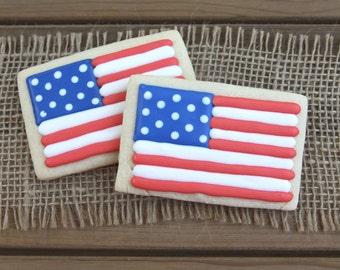 American Flag Sugar Cookies // American Flag Party Favors // 4th of July Party Favors // 4th of July Sugar Cookies