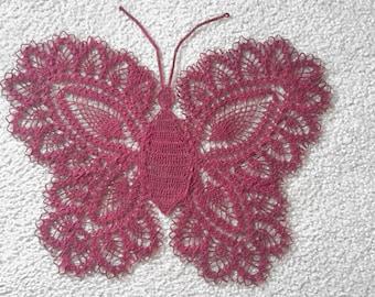 Gorgeous Crocheted Butterfly Doily - Deep Purple