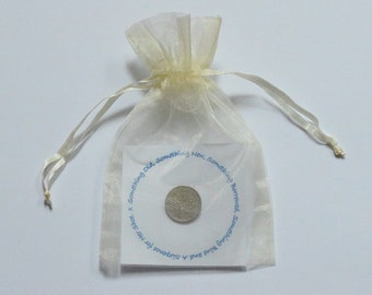 Bride's Lucky Sixpence. Bridal Gift. Bridal Shower. Traditional Good Luck Charm. Verse with detachable British Sixpence and organza bag.