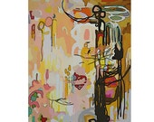 Large Original Abstract Painting Pretty Art Brown Pink Taupe Tan Office Neutral Vancouver Modern Bright Graphic Decor