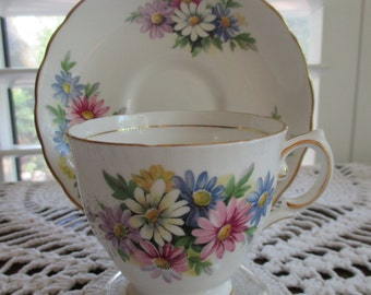 Antique Tuscan Bone China Tea Cup & Saucer Set