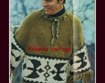 Knit Icelandic Poncho Pullover Man's Knitting PATTERN Instant Download Digital Pattern