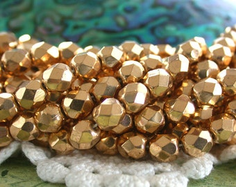 6mm Fire Polished Beads, 14kt to 18kt Aurum Gold Plated Beads, Czech Glass Beads, Faceted Glass Beads, Real Gold Plated Beads  CZ-531