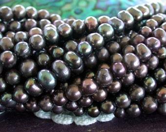 Fresh Water Pearls, Peacock Mocha Brown Blue Green Iris Fresh Water Pearls, Pearl Beads, Potato Shape Fresh Water Pearls  FWP-072