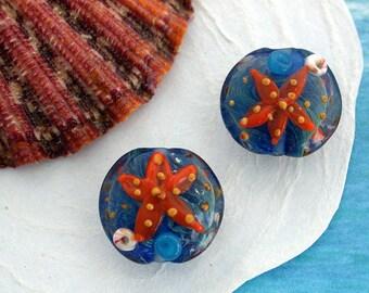 Starfish Lampwork Beads, Glass Beads, Beach Themed Beads, Lampwork Beads, Starfish Ocean Themed Beads  GB-065