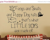 Frogs and Snails and Puppy Dog Tails LITTLE Boys Nursery Vinyl Wall Words lettering letters Decal 39+ Colors & Large Sizes Available