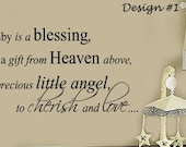a Baby is a Blessing from Heaven Nursery Vinyl Wall Decals 39+ Colors & Large Sizes Available