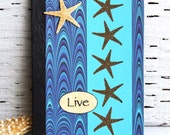 Ocean Starfish Mini Journal, Blue Pocket Notebook, Altered Composition Book, Vacation Planner, Personal Diary, Travel Journal