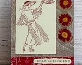 Hello Girlfriend Greeting Card, Woman in Roaring Twenties Fashion, Downton Abbey Inspired Handmade Card, Friendship Card, Any Occasion Card