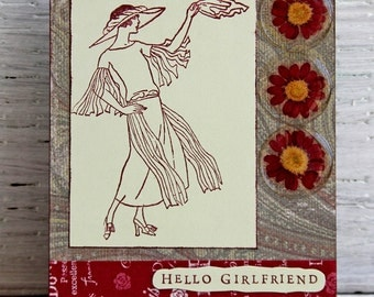 Hello Girlfriend Greeting Card,  Woman in Roaring Twenties Fashion, Downton Abbey Inspired Handmade Notecard, Any Occasion Card