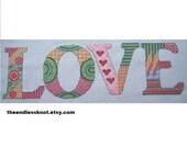 Love Cross Stitch Pdf Chart Pattern Instant Download Valentine Zentangle Style Decorated Word Free Pattern Decorative Stitching Whole Stitch