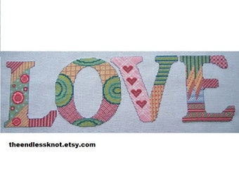 Love Cross Stitch Pdf Chart Pattern Instant Download Valentine Zentangle Style Decorated Word Decorative Stitching Whole Stitch