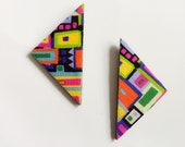 Triangle Fabric Covered Wood Stud Earrings - Multi Color