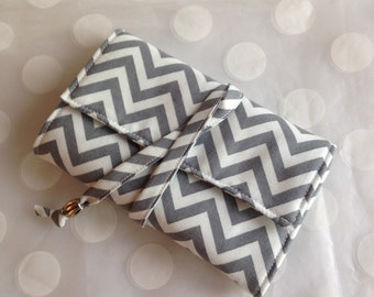 Travel Jewelry Case - Travel Jewely Organizer- Gray Chevron with Turquoise Pockets