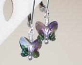 Kids' Earrings , Children's Butterfly Earrings , Swarovski Crystal earrings , Leverback earrings , Girl Birthday Gift