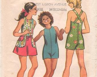 1972 - Simplicity 5058 Vintage Sewing Pattern Girls' Jumpsuit Wrap Skirt Summer Mini Criss Cross Straps Size 10