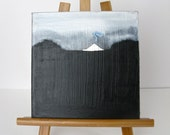"Small 8"" x 8"" Painting Black and White Mountain"