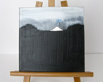 """Small 8"""" x 8"""" Painting Black and White Mountain"""