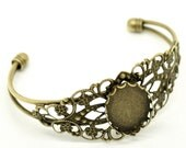Bronze Bangle Bracelet - Filigree - Holds  25x18mm Cabochon - Ships IMMEDIATELY from California - A427