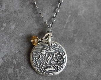 Sterling Silver Charm Necklace, Prairie, Botanical Charm, Disc, Leaves, Citrine, Sterling Silver, 17 inch, Boho Chic