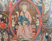 Vintage religious museum prints of antique 14th century French illuminations - pair