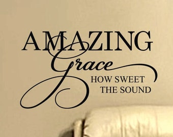 Wall Decal Amazing Grace How Sweet The Sound Religious Home Vinyl Lettering Wall Decor Removable Sticker Christian Living Room Decoration