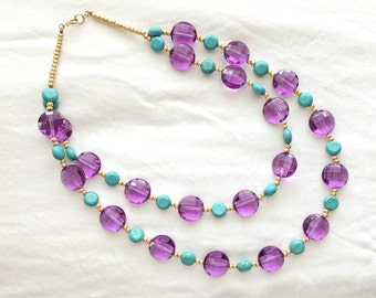 Purple and Turquoise, Double-Strand Necklace