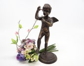 Antique Cupid Bronze 7 Inch Sculpture Playing Triangle, Putti with Wings, Musical Angel